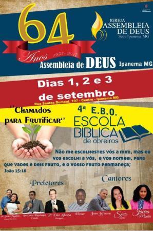 Igreja Assembleia de Deus de Ipanema irá comemorar os 64 anos