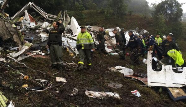 Acidente com avião que levava delegação da Chapecoense. (Foto: Reprodução)
