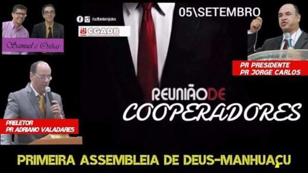 Reunião de Cooperadores acontecerá hoje na AD Petrina em Manhuaçu