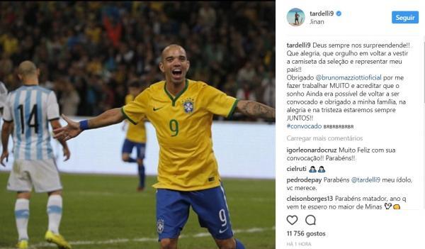 Diego Tardelli vibra pela convocação e agradece a Deus nas redes sociais Foto: Reprodução Instagram