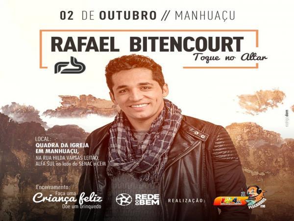 Cantor Rafael Bitencourt estará em Manhuaçu nesta segunda-feira