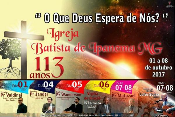 Igreja Batista de Ipanema comemora 113 anos
