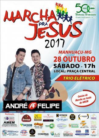 Marcha para Jesus em Manhuaçu é fruto da união de diferentes igrejas evangélicas e faz parte do calendário de eventos de Manhuaçu. (foto:Divulgação)