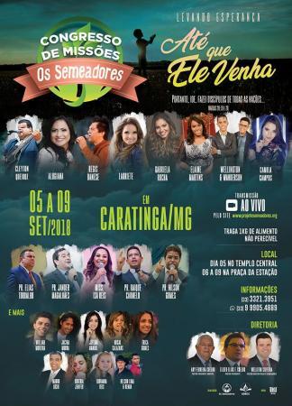 Os Semeadores divulga programação oficial do evento de missões 2018 em Caratinga