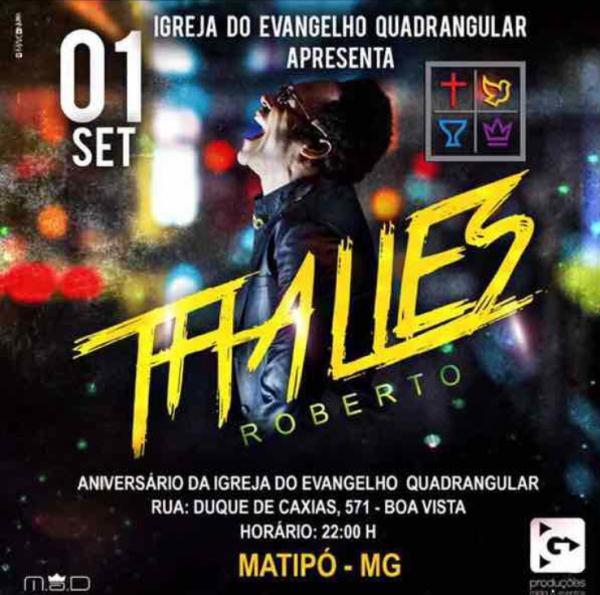 Cantor Thalles Roberto estará em Matipó em setembro
