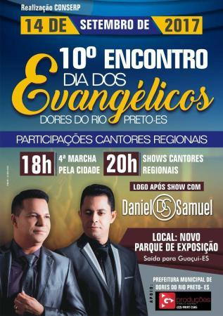 Acontecerá no dia 14/09, o 10º Encontro dia dos Evangélicos em Dores do Rio Preto, interior do Espírito Santo.(FOTO:Reprodução)