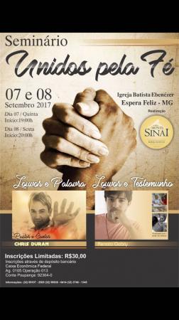 Igreja Batista Ebenézer em Espera Feliz irá promover seminário